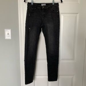 Denim - Shaping Mid Waist Ripped Black/Grey Skinny Jeans